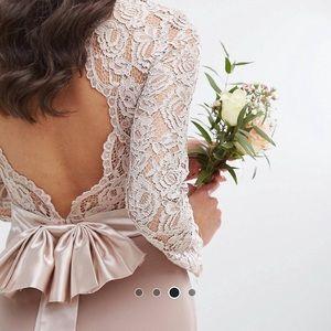 NWT lace maxi dress bow back